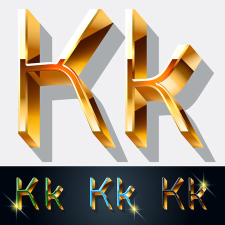 gold jewelry: Vector set of elegant gold jewelry font. Letter K