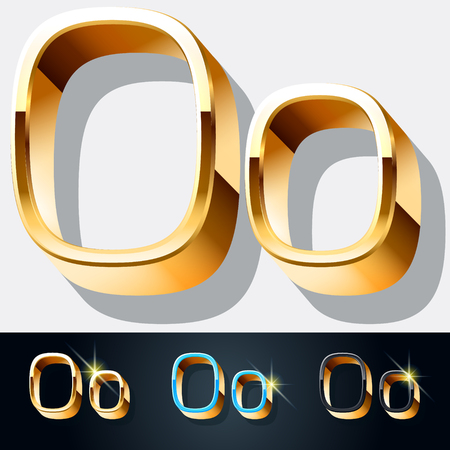 gold jewelry: Vector set of elegant gold jewelry font. Letter O Illustration