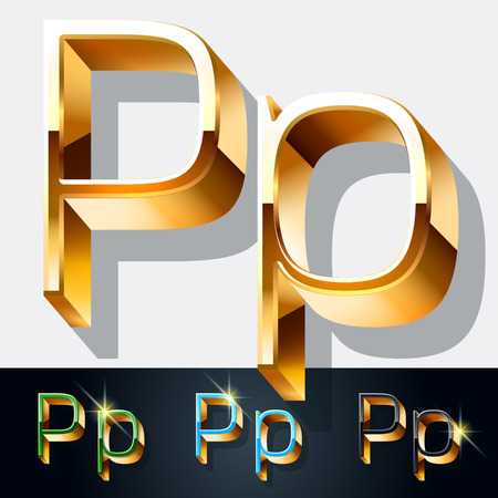 gold jewelry: Vector set of elegant gold jewelry font. Letter P