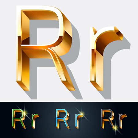 Vector set of elegant gold jewelry font. Letter R Illustration