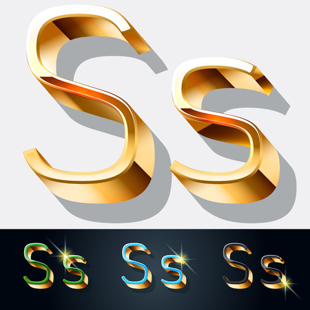 gold jewelry: Vector set of elegant gold jewelry font. Letter S Illustration