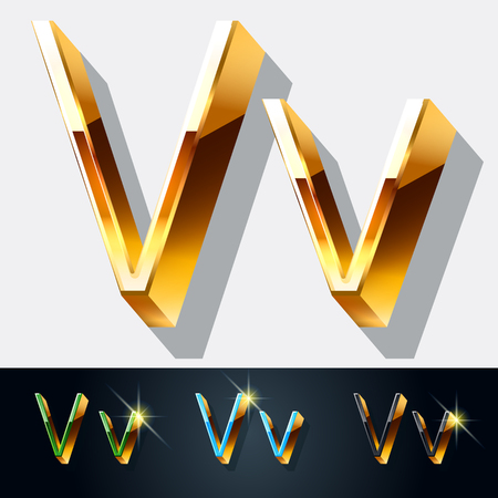 gold jewelry: Vector set of elegant gold jewelry font. Letter V