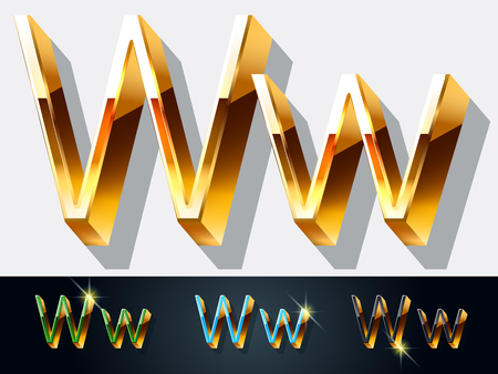 gold jewelry: Vector set of elegant gold jewelry font. Letter W Illustration