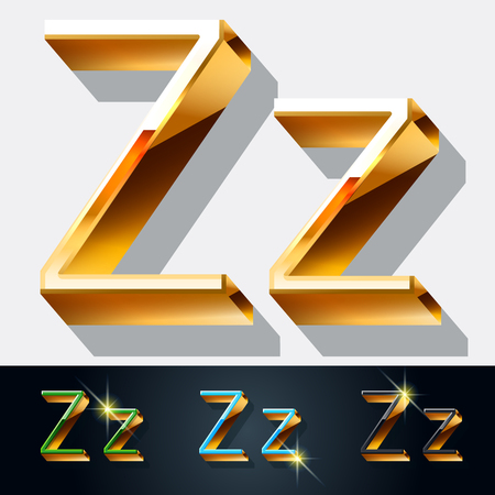gold jewelry: Vector set of elegant gold jewelry font. Letter Z Illustration