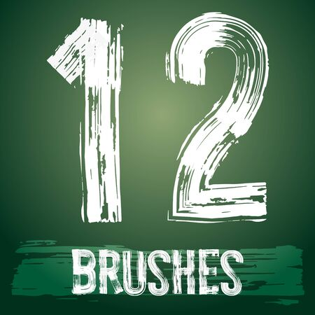 Vector set of grunge brush font available for military, construction and transportation themes. Numbers 1 2