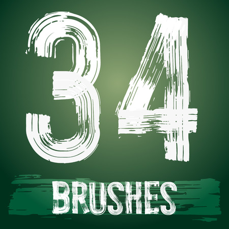 3 4: Vector set of grunge brush font available for military, construction and transportation themes. Numbers 3 4