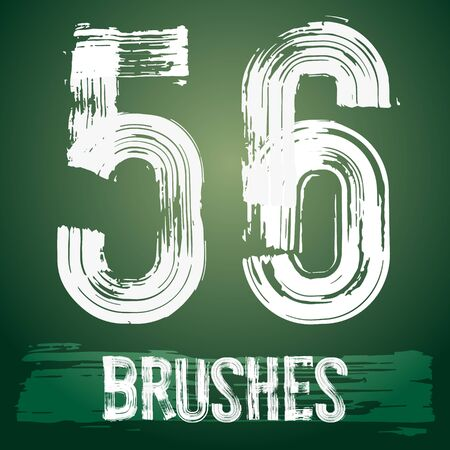 5 6: Vector set of grunge brush font available for military, construction and transportation themes. Numbers 5 6