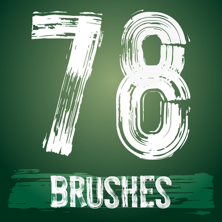 7 8: Vector set of grunge brush font available for military, construction and transportation themes. Numbers 7 8