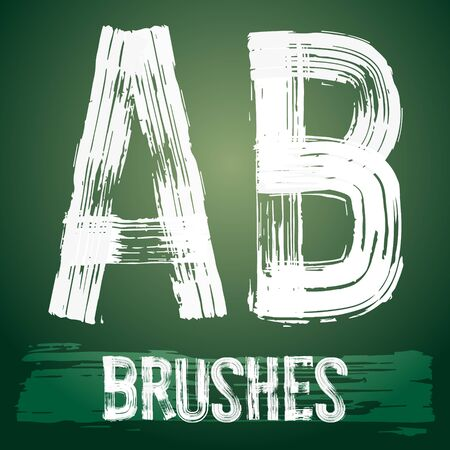Vector set of grunge brush font available for military, construction and transportation themes. Letters  A B Çizim