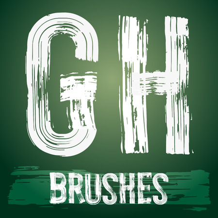 Vector set of grunge brush font available for military, construction and transportation themes. Letters  G H Illusztráció