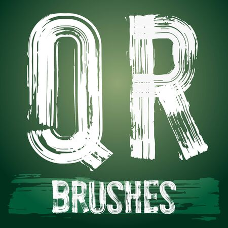 r transportation: Vector set of grunge brush font available for military, construction and transportation themes. Letters Q R Illustration