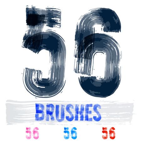 extremely: Vector set of extremely grunge underground style font. Hand-drawn brush alphabet. Numbers 5 6 Illustration