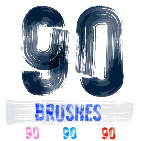 extremely: Vector set of extremely grunge underground style font. Hand-drawn brush alphabet. Numbers 9 0 Illustration