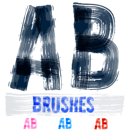 extremely: Vector set of extremely grunge underground style font. Hand-drawn brush alphabet. Letters A B Illustration