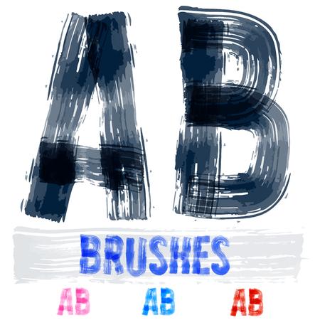 underground: Vector set of extremely grunge underground style font. Hand-drawn brush alphabet. Letters A B Illustration