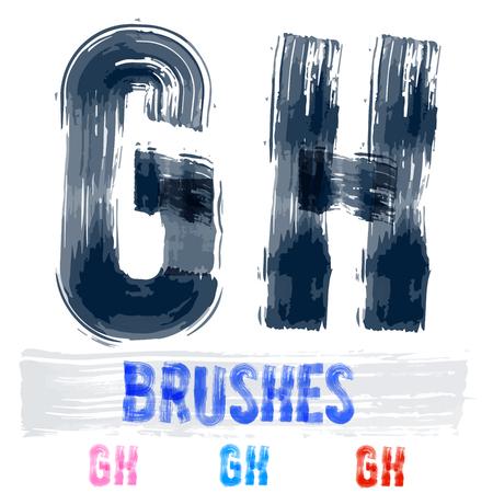 extremely: Vector set of extremely grunge underground style font. Hand-drawn brush alphabet. Letters G H Illustration