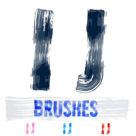 extremely: Vector set of extremely grunge underground style font. Hand-drawn brush alphabet. Letters I J Illustration