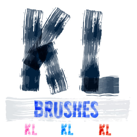 underground: Vector set of extremely grunge underground style font. Hand-drawn brush alphabet. Letters K L