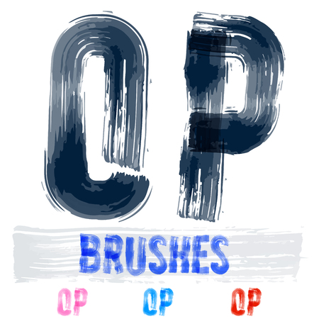 underground: Vector set of extremely grunge underground style font. Hand-drawn brush alphabet. Letters O P