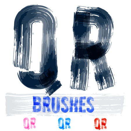 dripping paint: Vector set of extremely grunge underground style font. Hand-drawn brush alphabet. Letters Q R