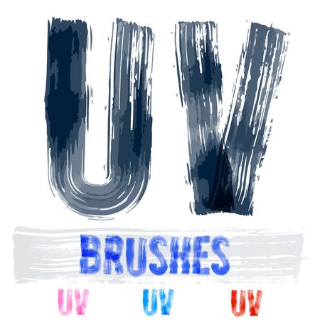 extremely: Vector set of extremely grunge underground style font. Hand-drawn brush alphabet. Letters U V