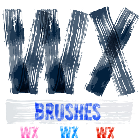 extremely: Vector set of extremely grunge underground style font. Hand-drawn brush alphabet. Letters W X
