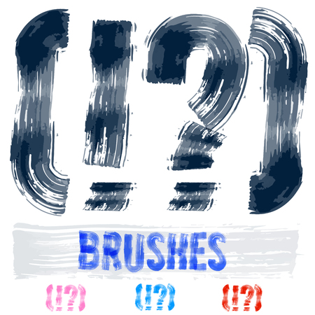 extremely: Vector set of extremely grunge underground style font. Hand-drawn brush alphabet. Symbols