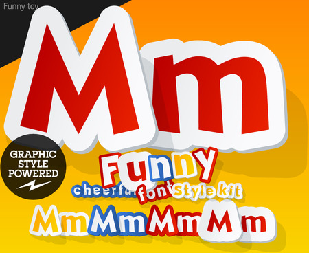 Vector font in shape of funny toys or cartoon elements. Letter M Vector