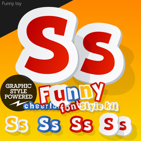 Vector font in shape of funny toys or cartoon elements. Letter S Vector