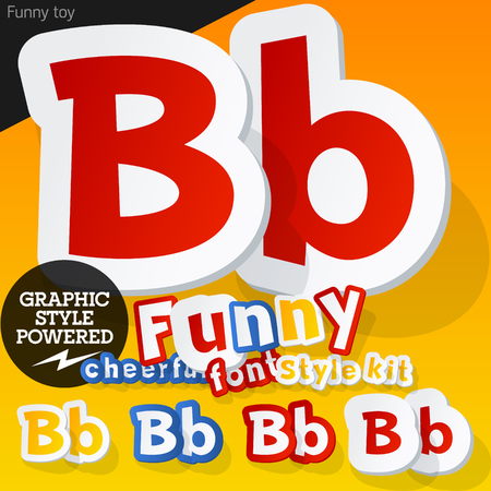 Vector font in shape of funny toys or cartoon elements. Letter B Vector