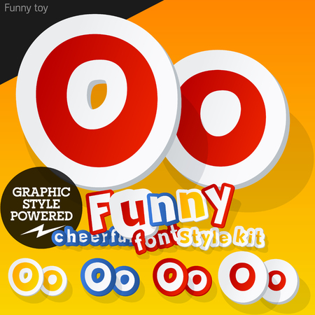 Vector font in shape of funny toys or cartoon elements. Letter O Vector