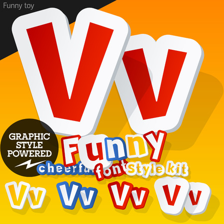 Vector font in shape of funny toys or cartoon elements. Letter V Vector