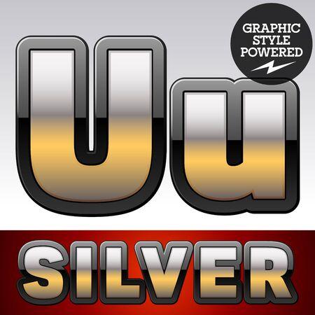 argent: Vector set of gradient silver font with black border. Letter U