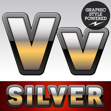 Vector set of gradient silver font with black border. Letter V Illustration