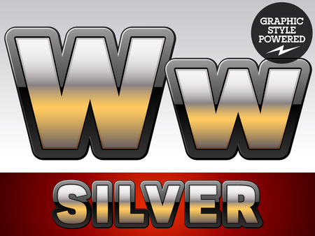 argent: Vector set of gradient silver font with black border. Letter W