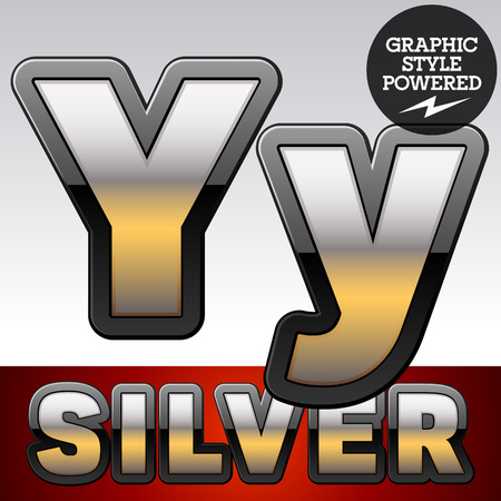 reflexion: Vector set of gradient silver font with black border. Letter Y Illustration