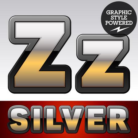 argent: Vector set of gradient silver font with black border. Letter Z