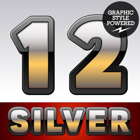 argent: Vector set of gradient silver font with black border. Numbers 1 2