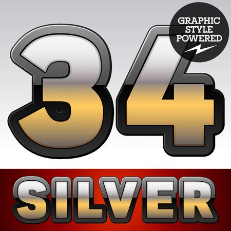 argent: Vector set of gradient silver font with black border. Numbers  3 4 Illustration