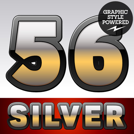 reflexion: Vector set of gradient silver font with black border. Numbers 5 6