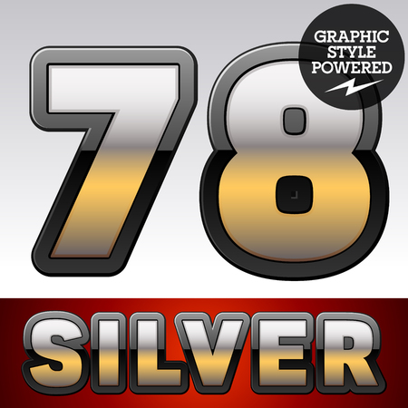 argent: Vector set of gradient silver font with black border. Numbers 7 8