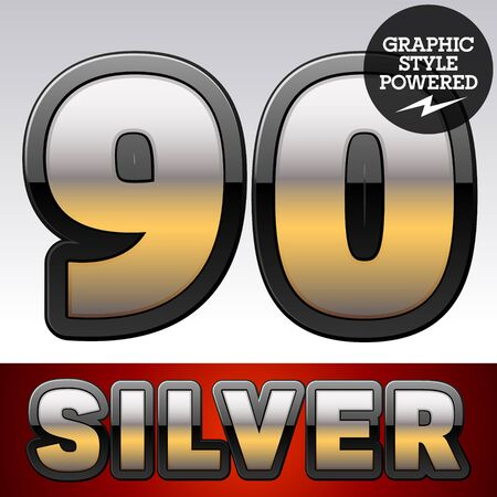 reflexion: Vector set of gradient silver font with black border. Numbers 9 0