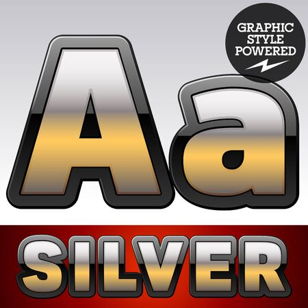 shiny argent: Vector set of gradient silver font with black border. Letter A