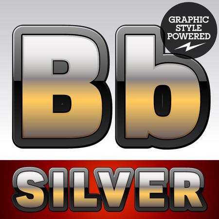 argent: Vector set of gradient silver font with black border. Letter B