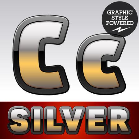 argent: Vector set of gradient silver font with black border. Letter C