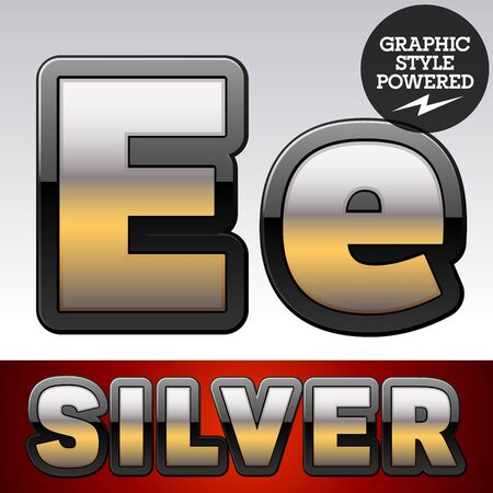 shiny argent: Vector set of gradient silver font with black border. Letter E