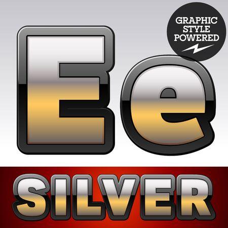 argent: Vector set of gradient silver font with black border. Letter E