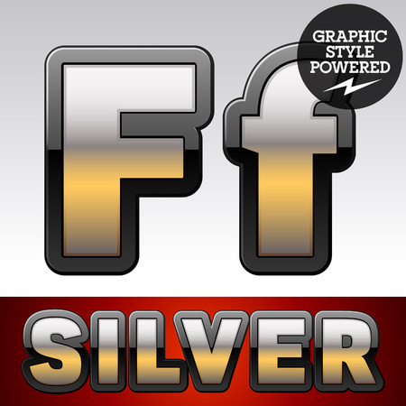 argent: Vector set of gradient silver font with black border. Letter F