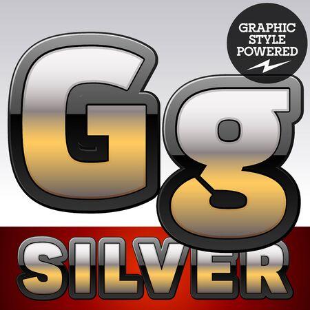argent: Vector set of gradient silver font with black border. Letter G Illustration