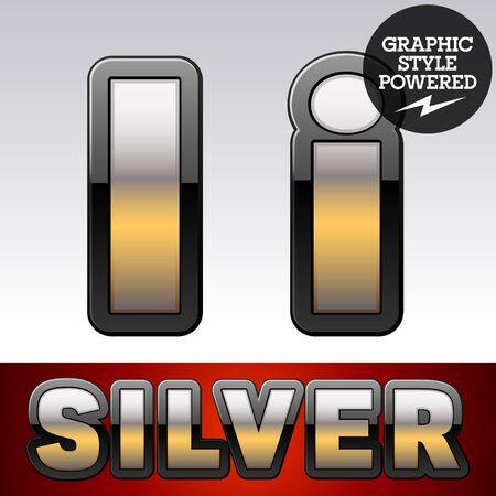 argent: Vector set of gradient silver font with black border. Letter I